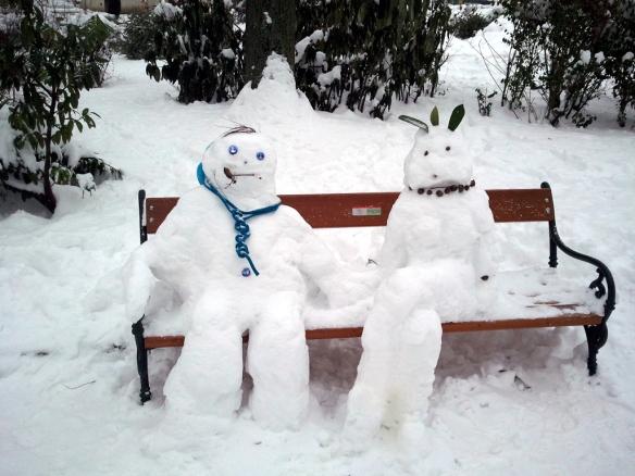 Schneefrau und Mann